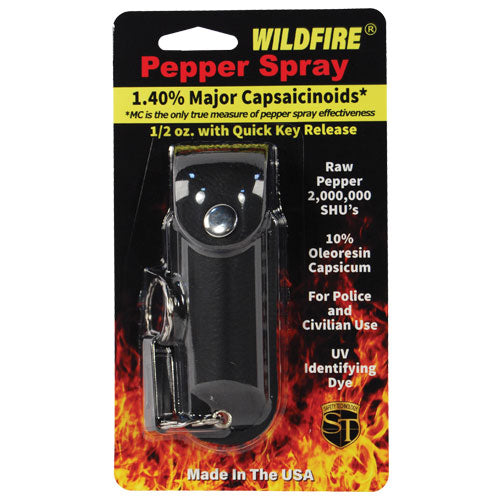 Wildfire 1.4% MC 1/2 oz pepper spray leatherette holster and quick release keychain black