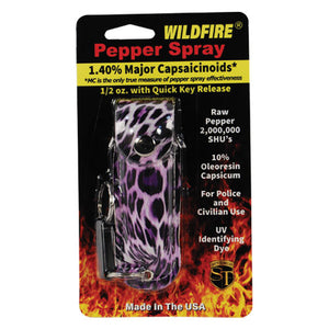 Wildfire 1.4% MC 1/2 oz pepper spray fashion leatherette holster and quick release keychain leopard black/purple