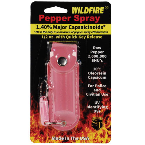 Wildfire 1.4% MC 1/2 oz pepper spray leatherette holster and quick release keychain pink