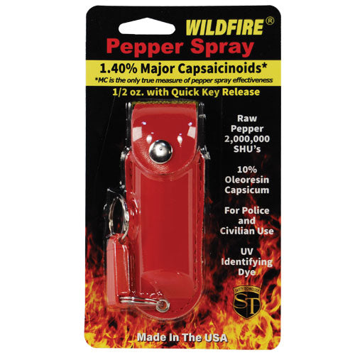 Wildfire 1.4% MC 1/2 oz pepper spray leatherette holster and quick release keychain red
