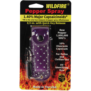 Wildfire 1.4% MC 1/2 oz with rhinestone leatherette holster purple and quick release keychain