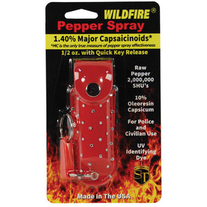 Wildfire 1.4% MC 1/2 oz with rhinestone leatherette holster red and quick release keychain