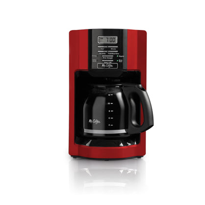 Kitchen Coffee Maker Automatic Drip 12 Cup Push Button Compact Sleek Unit Red