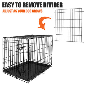 "Vibrant Life Dog Crate w/ Divider Single Door Folding Steel Frame X Small 24"" L"