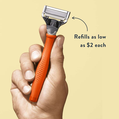 Harry Men Razor Orange Handle Blade Refills Rubberized Smooth Textured Grip New