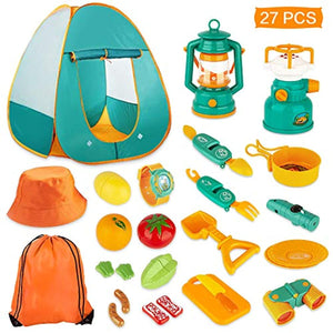 Kaqinu Kids Camping Set Pop Up Play Tent Indoor Outdoor Toddler Boys Girls 27Pcs