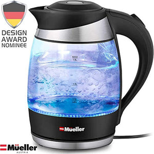 Mueller Cordless Electric Kettle LED Light Auto Shut Off 1500W Borosilicate New