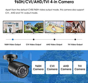 Zosi Security Bullet Camera Surveillance 2.0MP FHD 1080P LED Night Vision New