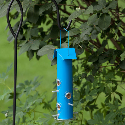 Perky Pet Wild Bird Feeder Metal Tube Powder Coated Finish Outdoor Garden Blue