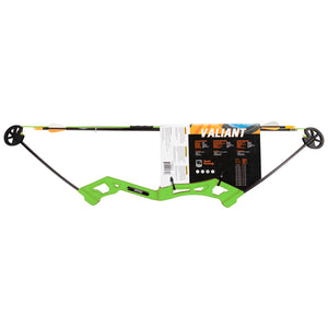 Bear Archery Valiant Youth Bow Set Arrows Target Finger Rollers Flo Green New