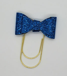 Blue glitter faux leather paper clip