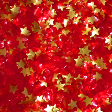 Red Glitter Flakes With Gold Stars Metallic Edible Shimmer Sparkle Glitter For Cakes And Cupcakes 2oz Jar