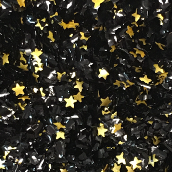 Black Glitter Flakes With Gold Stars Metallic Edible Shimmer Sparkle Glitter For Cakes And Cupcakes 2oz Jar