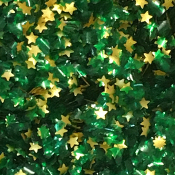 Emerald Green Glitter Flakes With Gold Stars Metallic Edible Shimmer Sparkle Glitter For Cakes And Cupcakes 2oz Jar