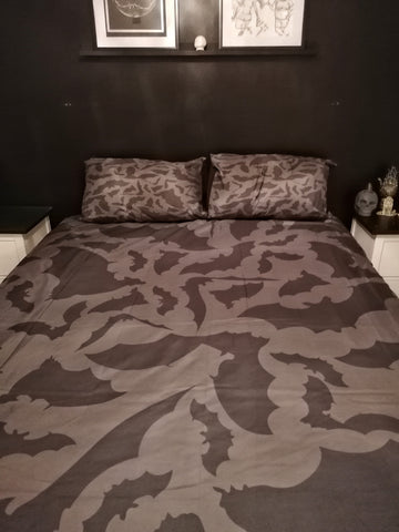 Dark Grey Bat Bedding Duvet Cover