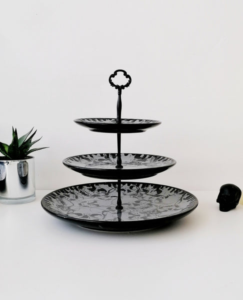 Three Tiered Grey Skull Cake Stand