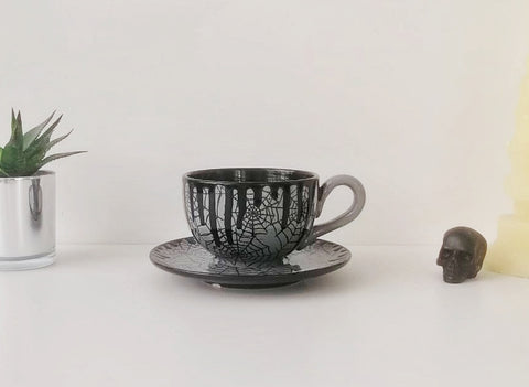 Grey Web Cappuccino Cup & Saucer