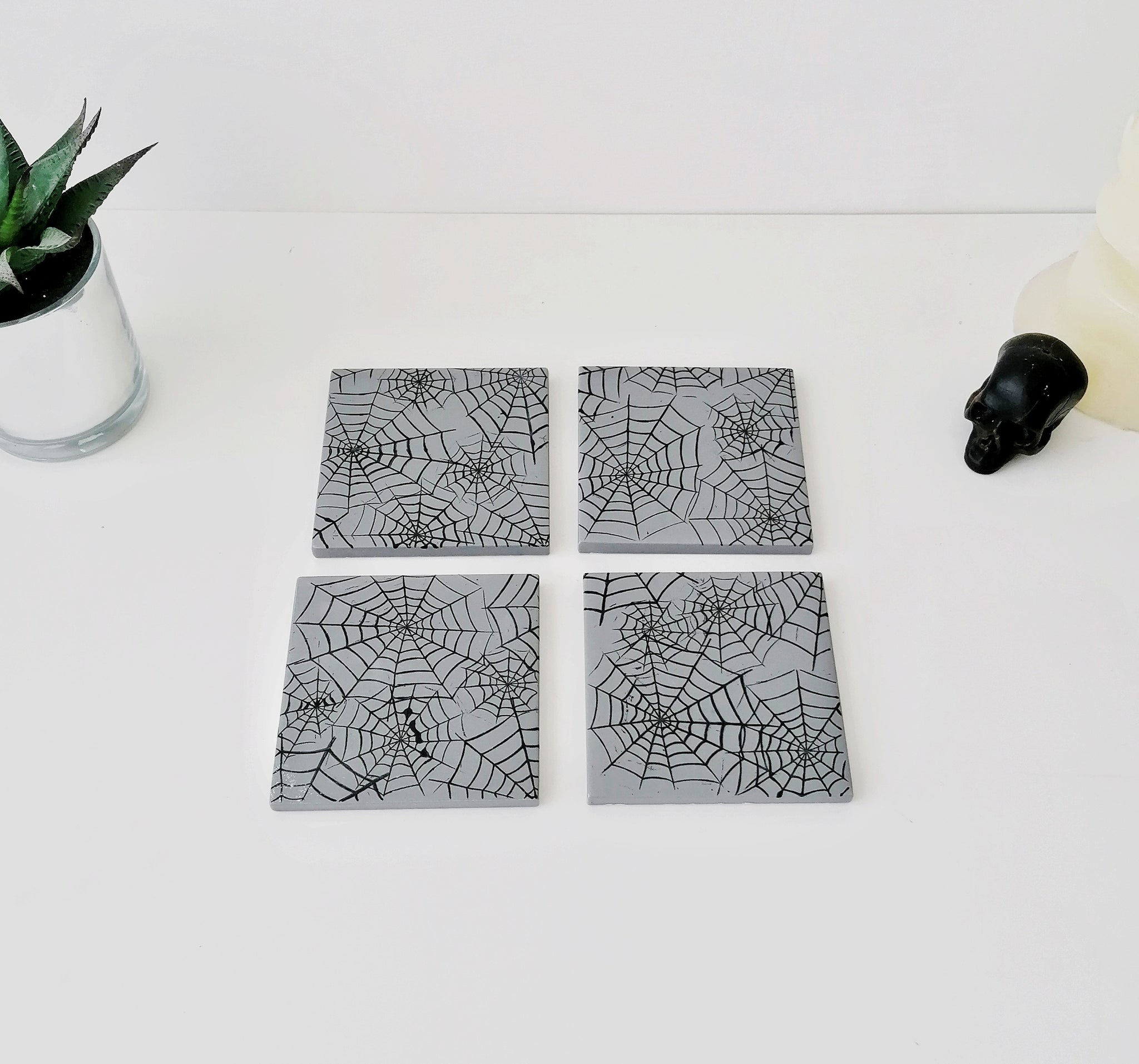 Grey Web Coasters