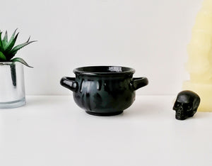 Matte Black Bat Small Cauldron