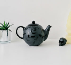 Large Matte Black Bat Teapot