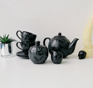 Matte Black Bat Tea Set