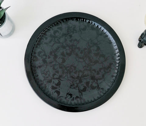 Matte Black Skull Pizza Plate