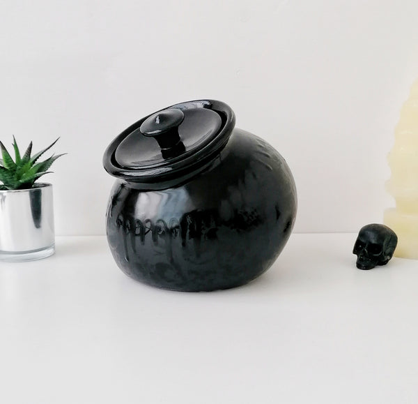 Matte Black Skull Storage Jar