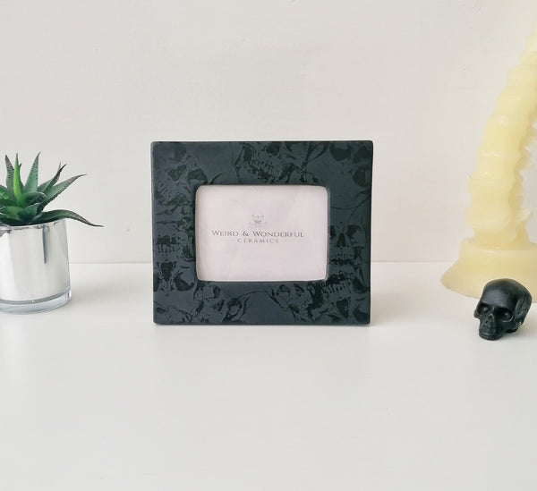 Matte Black Skull Photo Frame