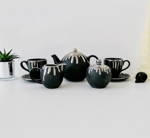 Matte Black & Silver Tea Set