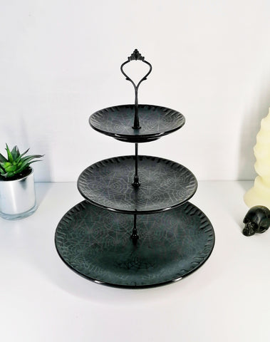 Three Tiered Matte Black Web Cake Stand