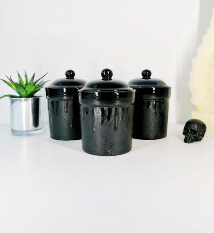 Matte Black Web Canister Set