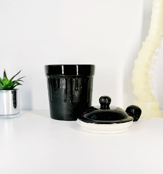 Matte Black Web Cookie Jar