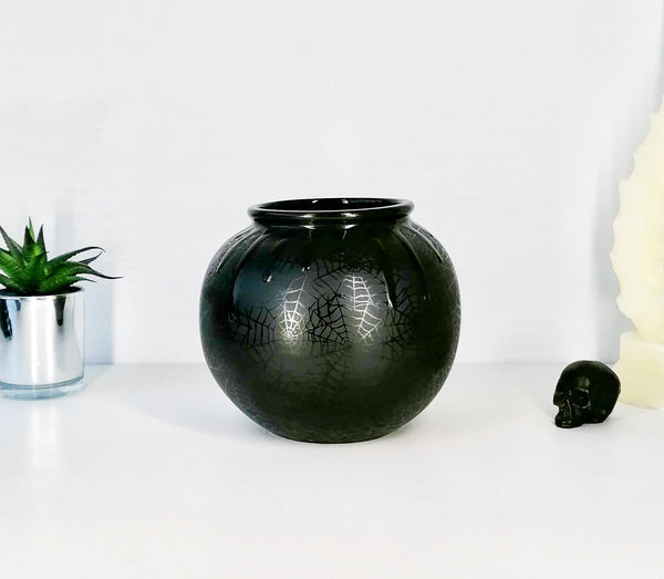 Matte Black Web Ball Vase