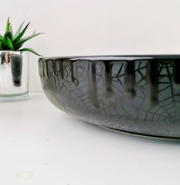 Large Matte Black Webs Salad Bowl