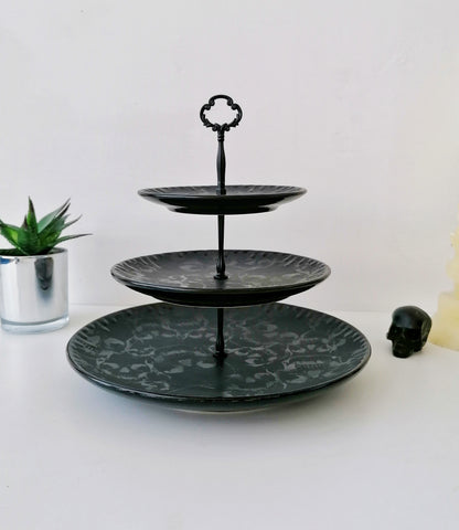 Three Tiered Matte Black Skull Cake Stand