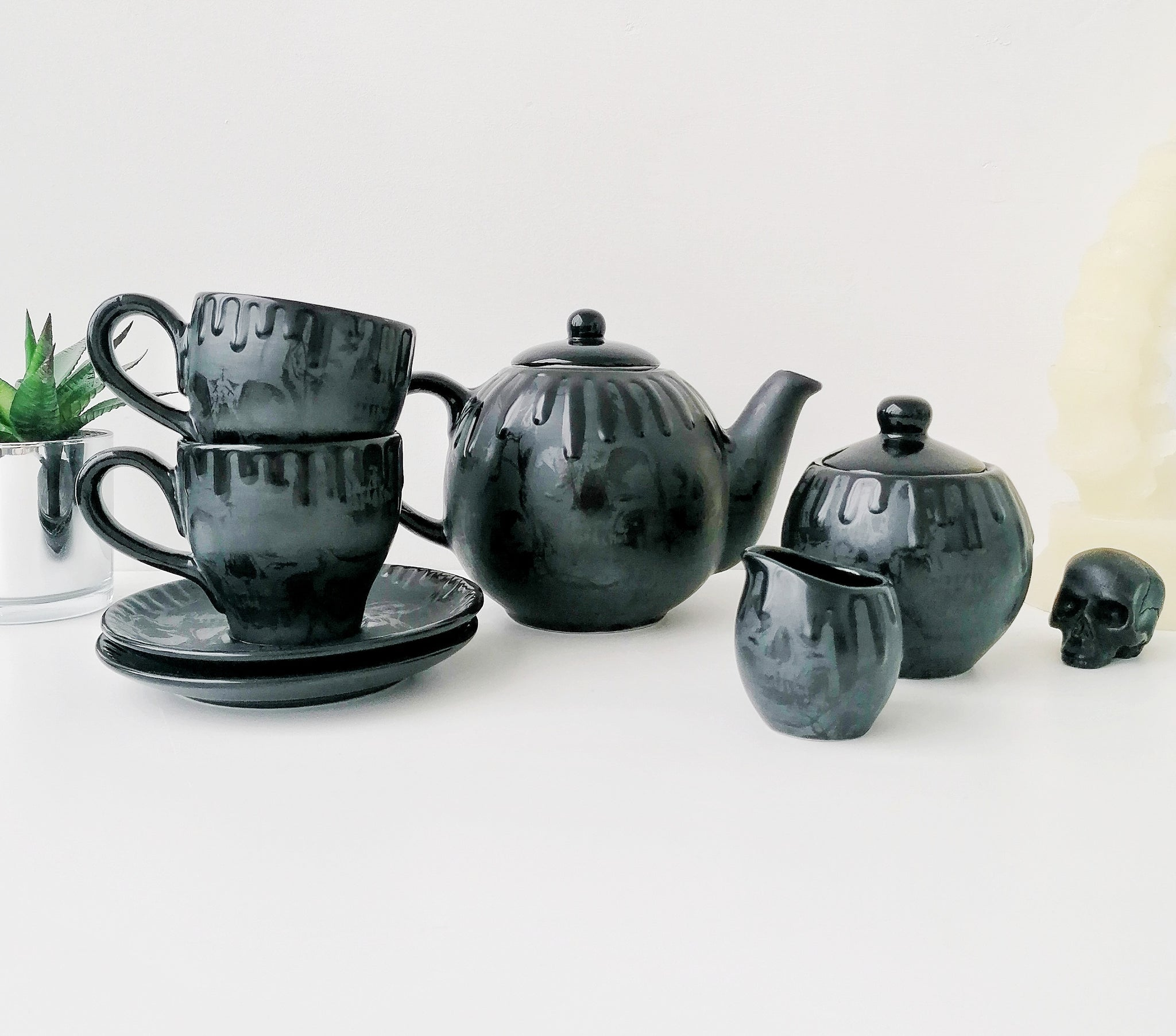 Matte Black Skull Tea Set