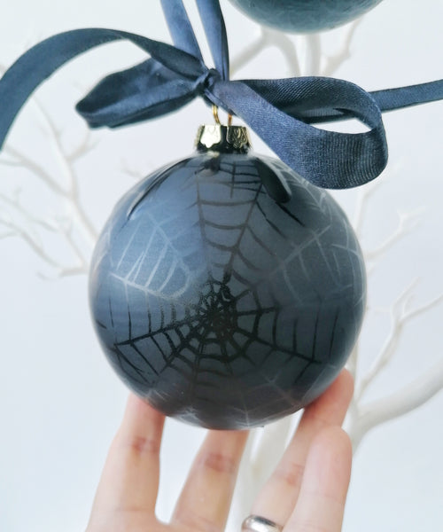 Matte Black Web Christmas Bauble