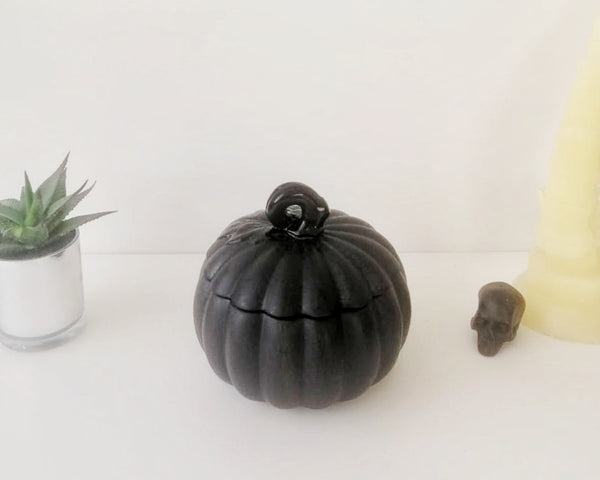 Matte Black Web Ceramic Pumpkin Storage Jar