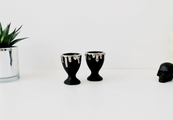 Set of 2 Tall Matte and Silver Egg Cups