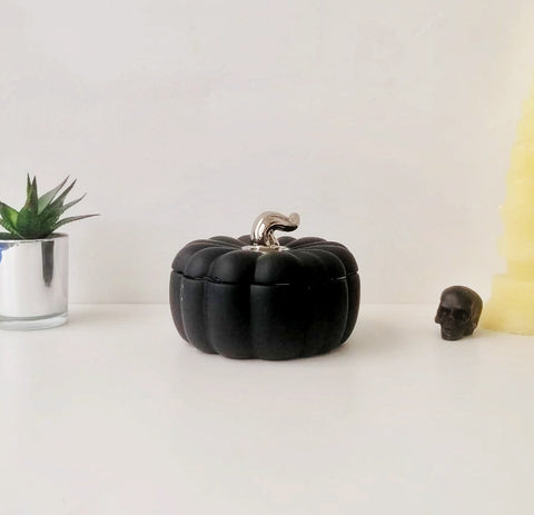 Matte Silver Ceramic Pumpkin Storage Jar