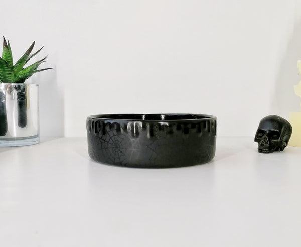 Matte Black Web Pet Bowl