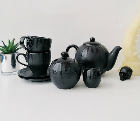 Matte Black Web Tea Set