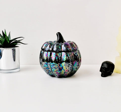 Oil Slick Ceramic Pumpkin Canister