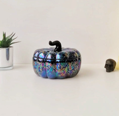 Oil Slick Ceramic Pumpkin Storage Jar