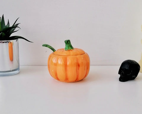 Ceramic Pumpkin Sugar Pot
