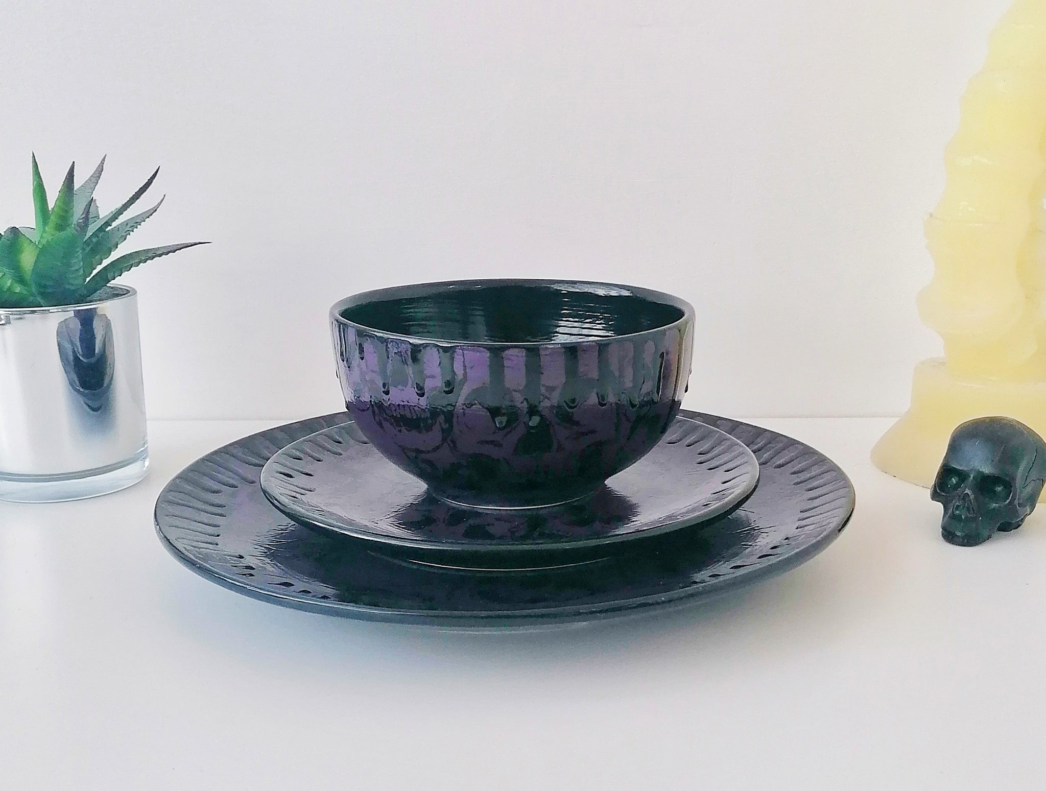 Purple Skull Dinner Set