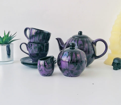 Purple Skull Tea Set