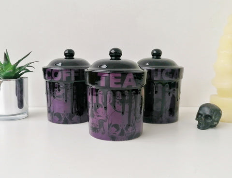 Purple Skull Storage Canisters