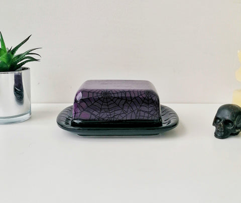 Purple Web Butter Dish