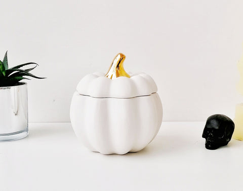 Matte White & Gold Ceramic Pumpkin Canister